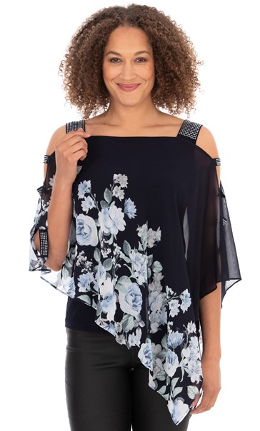 Embellished Chiffon Layer Top Midnight Blue