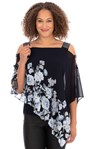 Embellished Chiffon Layer Top Midnight Blue - Gallery Image 1