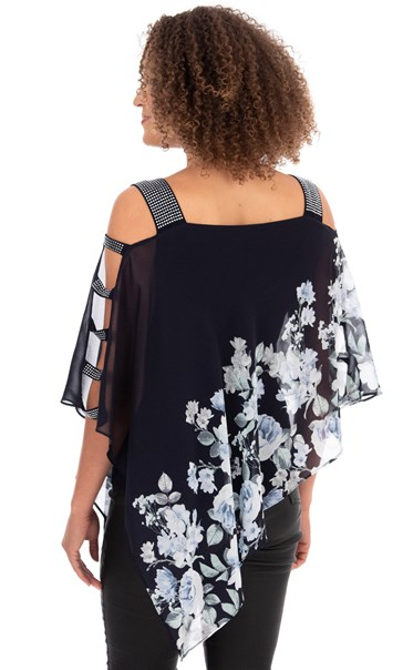 Embellished Chiffon Layer Top Midnight Blue - Gallery Image 2
