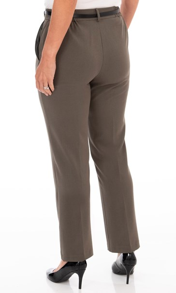 Anna Rose Straight Leg Trousers 27 inch - Khaki