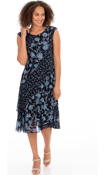 Floral Print Sleeveless Midi Dress Midnight/Sky Blue