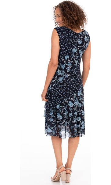 Floral Print Sleeveless Midi Dress Midnight/Sky Blue - Gallery Image 2