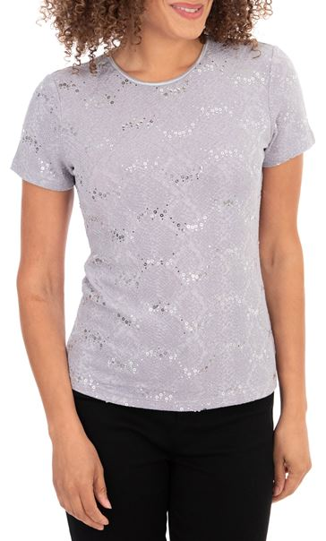 Anna Rose Short Sleeve Textured Top Grey - Gallery Image 1