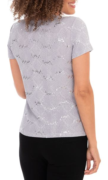 Anna Rose Short Sleeve Textured Top Grey - Gallery Image 2