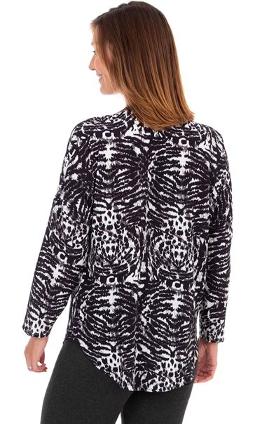 Animal Printed Top Black/White - Gallery Image 3