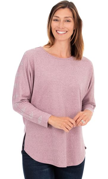 Embellished Brushed Knit Top Pink Marl