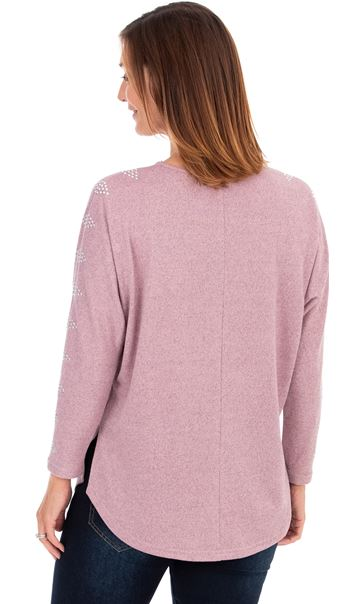 Embellished Brushed Knit Top Pink Marl - Gallery Image 2