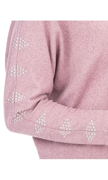 Embellished Brushed Knit Top Pink Marl - Gallery Image 3