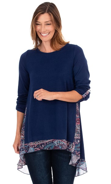 Chiffon Panel Oversized Knit Top Navy/Pink - Gallery Image 1