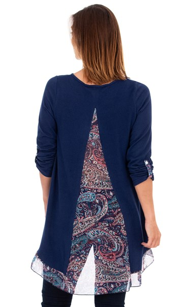 Chiffon Panel Oversized Knit Top Navy/Pink - Gallery Image 2