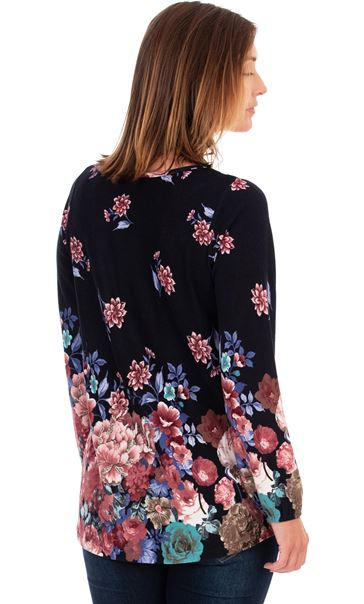 Floral Border Printed Brushed Tunic Navy - Gallery Image 2