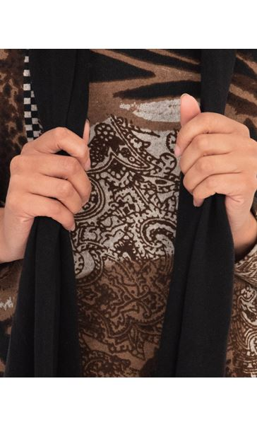 Anna Rose Printed Top With Scarf Black/Brown - Gallery Image 3