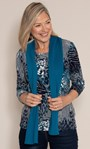 Anna Rose Printed Top With Scarf Navy Multi - Gallery Image 1