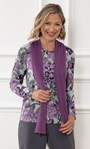 Anna Rose Brushed Top With Scarf Grey/Purple - Gallery Image 1