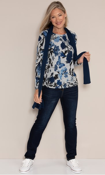 Anna Rose Brushed Top With Scarf Black/Grey/Blue - Gallery Image 3