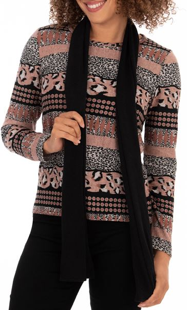 Anna Rose Printed Top With Scarf Grey/Fig