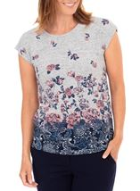 Anna Rose Floral Border Print Top