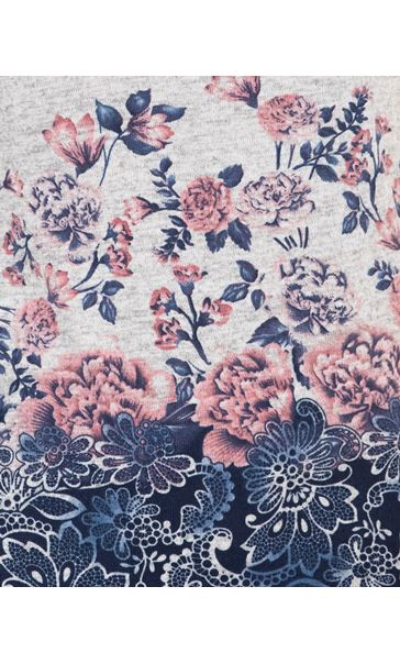 Anna Rose Floral Border Print Top Grey Marl/Pink - Gallery Image 3