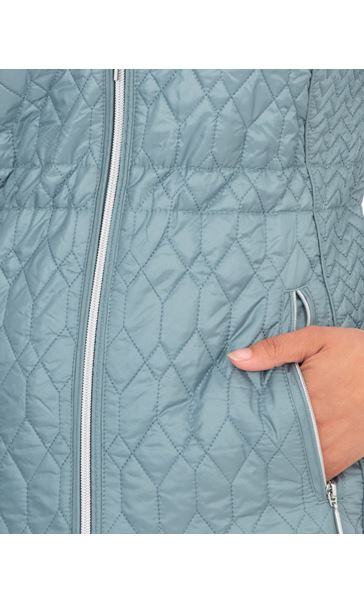 Zip Up Quilted Coat Green Mix - Gallery Image 3