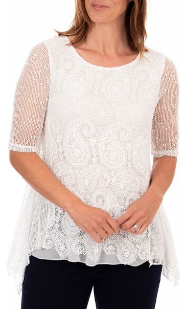 Anna Rose Lace Front Tunic - White