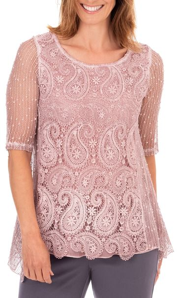 Anna Rose Lace Front Tunic Pink