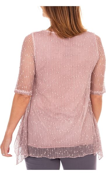 Anna Rose Lace Front Tunic Pink - Gallery Image 2
