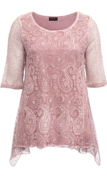 Anna Rose Lace Front Tunic Pink - Gallery Image 3