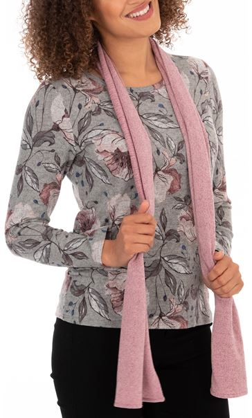 Anna Rose Printed Top With Scarf - Grey Marl/Multi