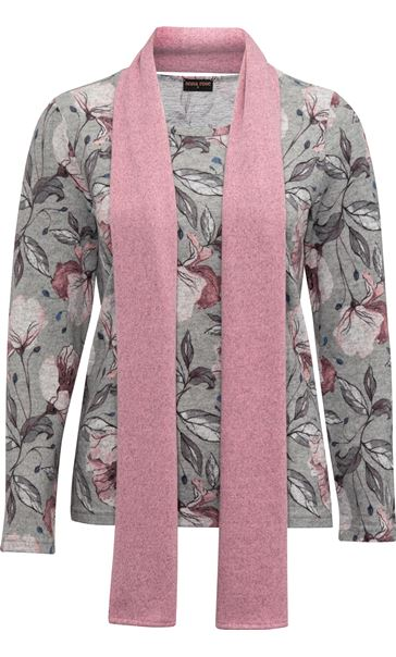 Anna Rose Printed Top With Scarf Grey Marl/Multi - Gallery Image 3