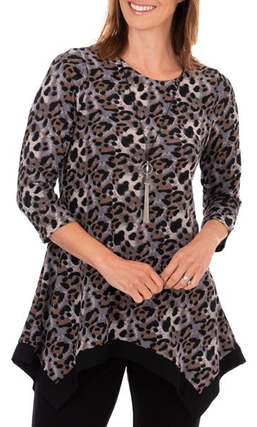 Anna Rose Animal Print Brushed Tunic With Necklace Black/Pink