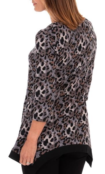 Anna Rose Animal Print Brushed Tunic With Necklace Black/Pink - Gallery Image 2
