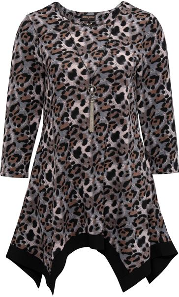 Anna Rose Animal Print Brushed Tunic With Necklace Black/Pink - Gallery Image 3