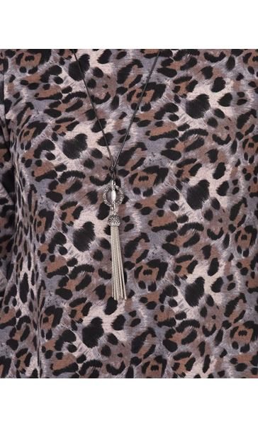 Anna Rose Animal Print Brushed Tunic With Necklace Black/Pink - Gallery Image 4