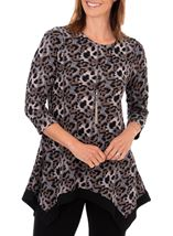 Anna Rose Animal Print Brushed Tunic With Necklace