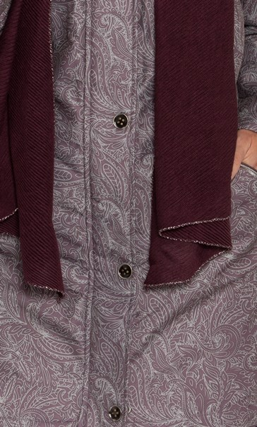 Anna Rose Print Coat With Scarf Mauve - Gallery Image 4