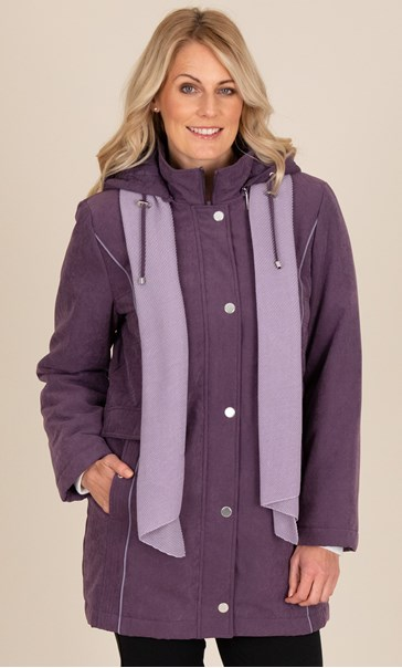 Anna Rose Coat With Scarf Damson - Gallery Image 2