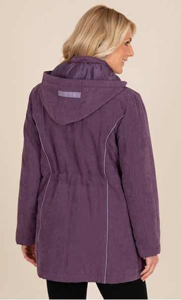 Anna Rose Coat With Scarf Damson - Gallery Image 3