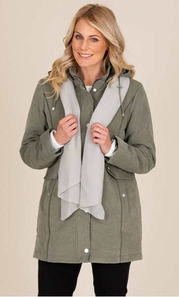 Anna Rose Coat With Scarf - Khaki