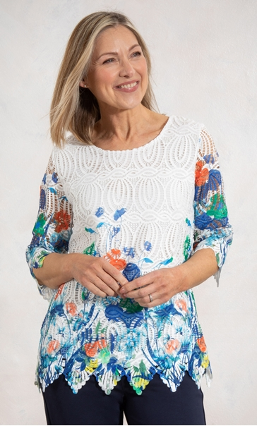 Anna Rose Border Printed Lace Top White/Orange/Multi - Gallery Image 1