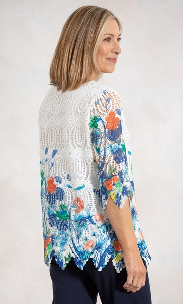 Anna Rose Border Printed Lace Top White/Orange/Multi - Gallery Image 2