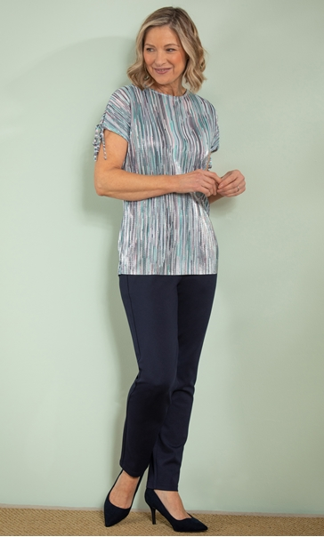 Anna Rose Stripe Pleated Top Pink/Aqua