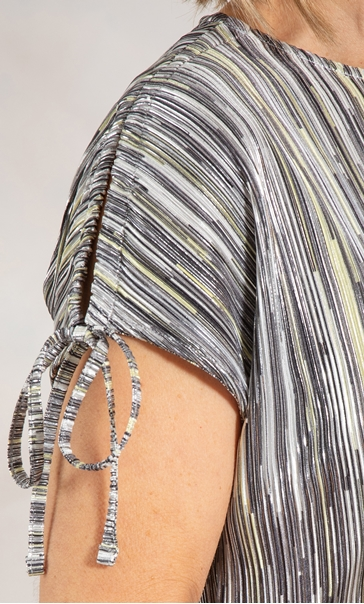 Anna Rose Stripe Pleated Top Yellow - Gallery Image 3