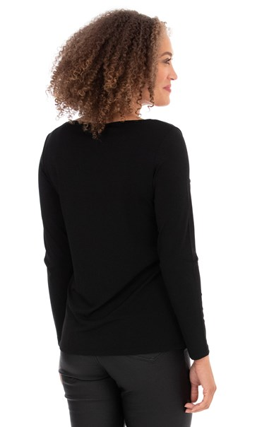 Asymmetric Jersey Top Black - Gallery Image 2
