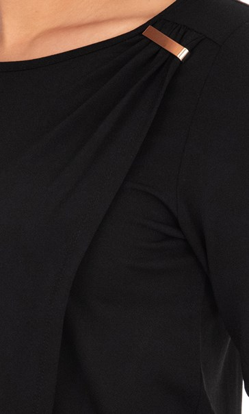 Asymmetric Jersey Top Black - Gallery Image 3