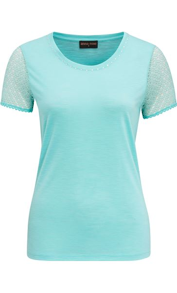 Anna Rose Short Lace Sleeve Top Aqua - Gallery Image 4