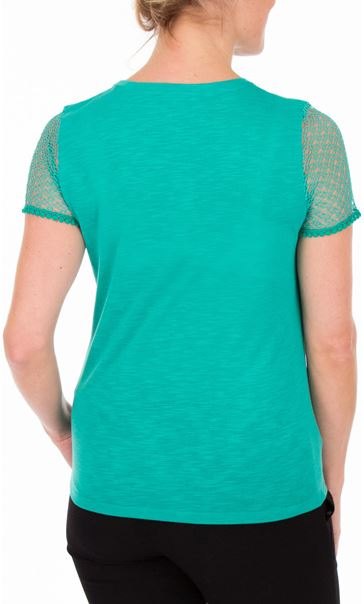 Anna Rose Short Lace Sleeve Top - Jade