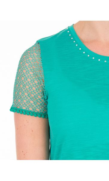 Anna Rose Short Lace Sleeve Top Jade - Gallery Image 3
