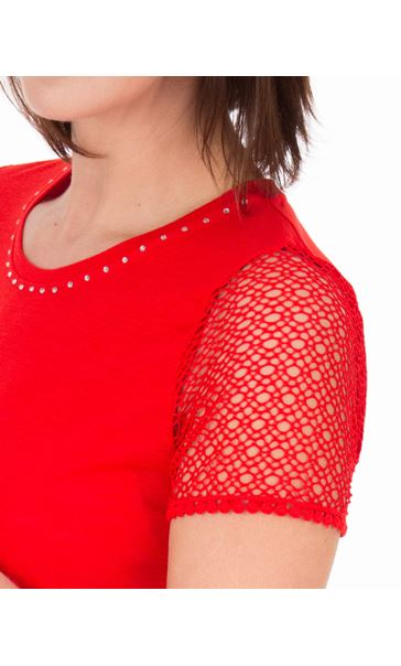 Anna Rose Short Lace Sleeve Top Red - Gallery Image 3
