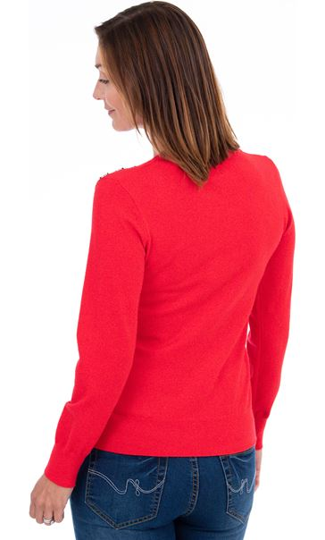 Long Sleeve Knitted Top Red - Gallery Image 2