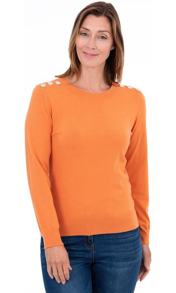 Long Sleeve Knitted Top - Orange